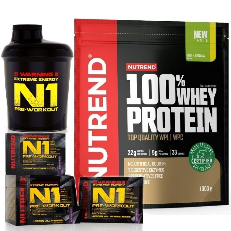 NEW 100% Whey Protein - 1000 g + N1 Pre-Workout - 10 x 17 g